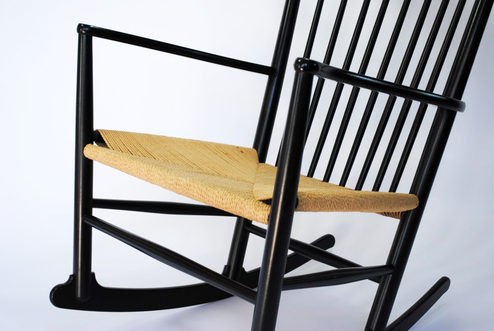 wegner rocking chair a black beech rocking chair with woven paper cord ...